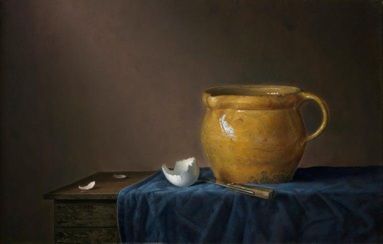 Yellow jug with egg - Peter van den Borne - Painting by Peter van den Borne