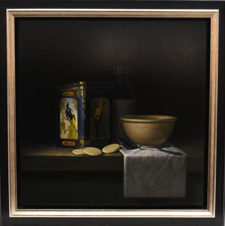 Vintage tin van Melle biscuits with bird of paradise - Peter van den Borne - Black Interior Painting by Peter van den Borne