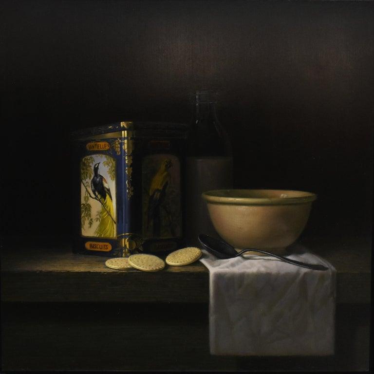 Vintage tin van Melle biscuits with bird of paradise - Peter van den Borne - Realist Painting by Peter van den Borne