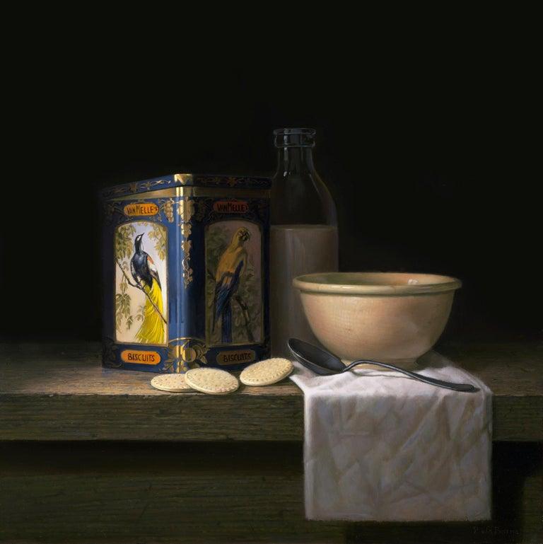 Vintage tin van Melle biscuits with bird of paradise - Peter van den Borne - Painting by Peter van den Borne