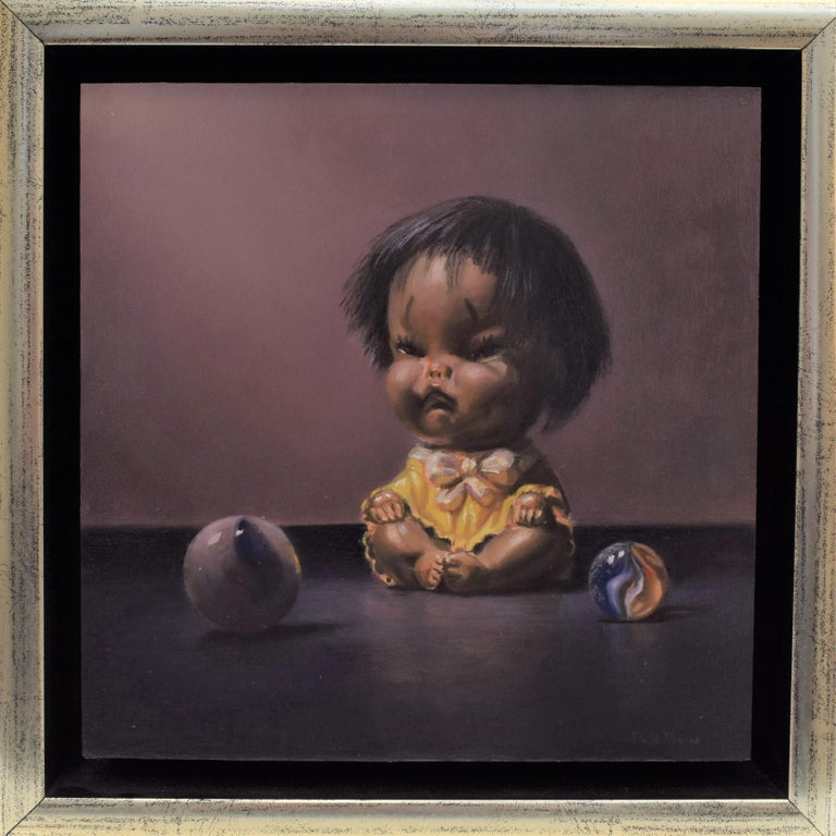 I don't want to play - Peter van den Borne - Realist Painting by Peter van den Borne