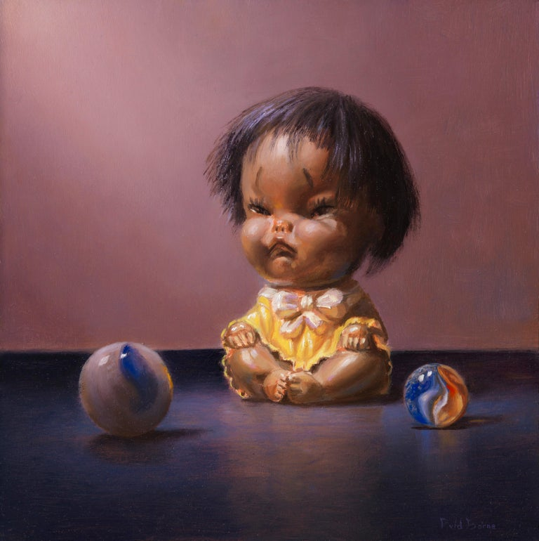 I don't want to play - Peter van den Borne - Painting by Peter van den Borne