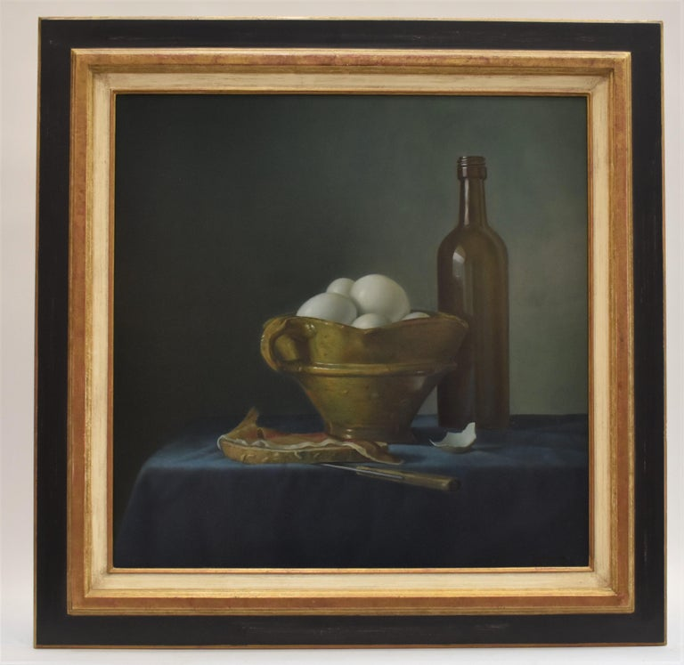 Bread with ham and eggs - Peter van den Borne - Realist Painting by Peter van den Borne