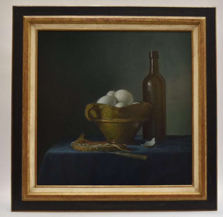 Bread with ham and eggs - Peter van den Borne - Black Still-Life Painting by Peter van den Borne