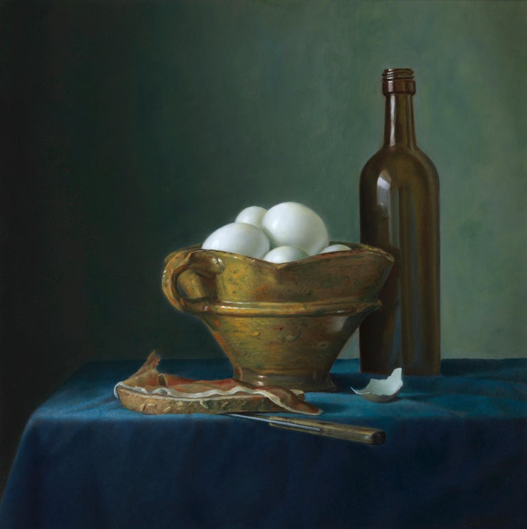 Bread with ham and eggs - Peter van den Borne - Painting by Peter van den Borne