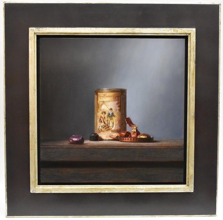 Van Houten tin with chocolates - Peter van den Borne - Realist Painting by Peter van den Borne