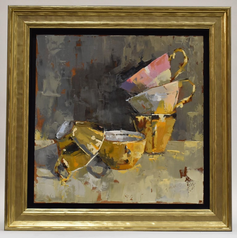 Pink rules - Ans Debije Dutch Realist Impressionist  - Brown Still-Life Painting by Ans Debije