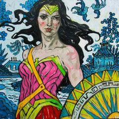 Uprise, Oil on Canvas, Figurative Art, Superhero, Wonder Woman, Signed