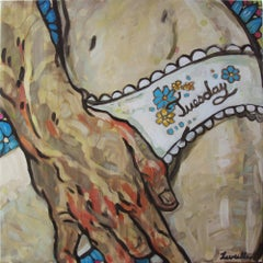 Tuesday, Oil on Canvas, Figurative Art, Lingerie, Signed