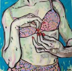 Thursday, Oil on Canvas, Figurative Art, Lingerie, Signed