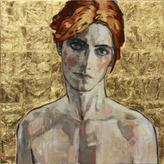 My David Bowie, Oil on Canvas, 24K Gold Leaf, Pop Culture, Portrait, Signed