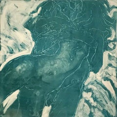 Hugs and Kisses, Monotype, Work on Paper, Figurative Art, Signed