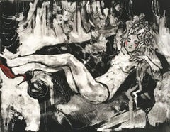 The Garden, Monotype, Figurative Art, Nude, Black and White, Signed