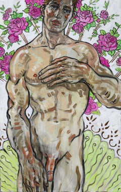 Venus, Oil on Canvas, Gold Leaf, Figurative Art, Portrait, Nude, Signed