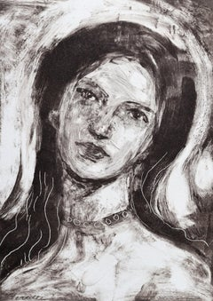 Little Face, Monotype, Work on Paper, Portrait, Signed