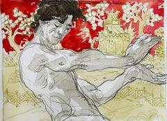 Eris II, Watercolor, Figurative Art, Signed, Framed