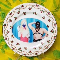 Miss Meatface & Meatmaid, Ceramic Plate, Vintage China, Photo Transfer, Signed