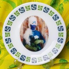 Desiree's Rose No 4, Ceramic Plate, Vintage China, Photo Transfer, Signed
