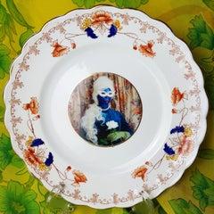 Desiree's Rose No 3, Ceramic Plate, Vintage China, Photo Transfer, Signed