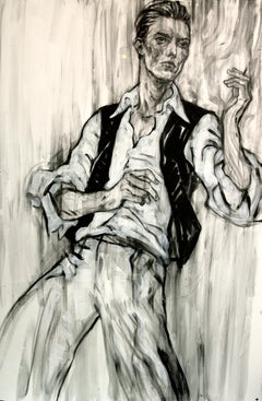 The Thin White Duke, Drawing, Portrait, David Bowie, Black and White, Signed