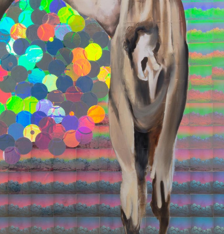 St. Bartholomew Displaying His Flayed Skin, Figurative Art, Hologram, Signed - Contemporary Painting by Jeanette Hayes