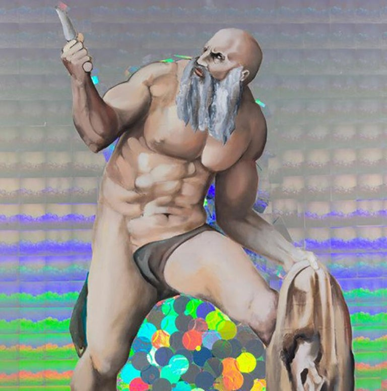 St. Bartholomew Displaying His Flayed Skin, Figurative Art, Hologram, Signed - Painting by Jeanette Hayes