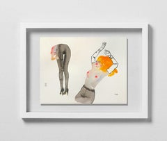 HEARTS ON FIRE, Watercolor, Painting, Figurative Art, Nude, Signed, Framed