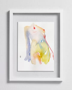Saintly Narcotic, Watercolor, Painting, Figurative Art, Nude, Signed, Framed