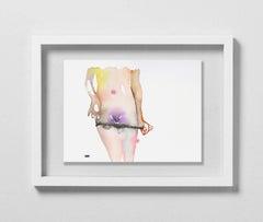 THE BUSH IS BACK (PURPLE GLITTER), Watercolor, Figurative, Nude, Signed, Framed