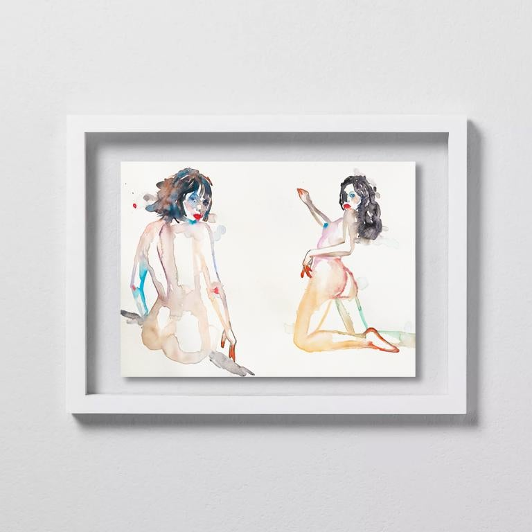 YOU OR SOMEONE LIKE YOU, Watercolor, Painting, Figurative, Nude, Signed, Framed - Art by FAHREN FEINGOLD