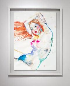 Aquarius Descending, Watercolor on Paper, Figurative, Signed, Framed