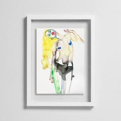 BARBIE BRAINWASHED, Watercolor, Painting, Nude, Signed, Framed