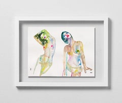 Clandestine Curses, Watercolor, Painting, Nude, Signed, Framed