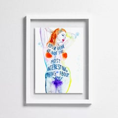 MORE THAN MY BODY, Watercolor on Paper, Figurative, Text, Nude, Signed, Framed