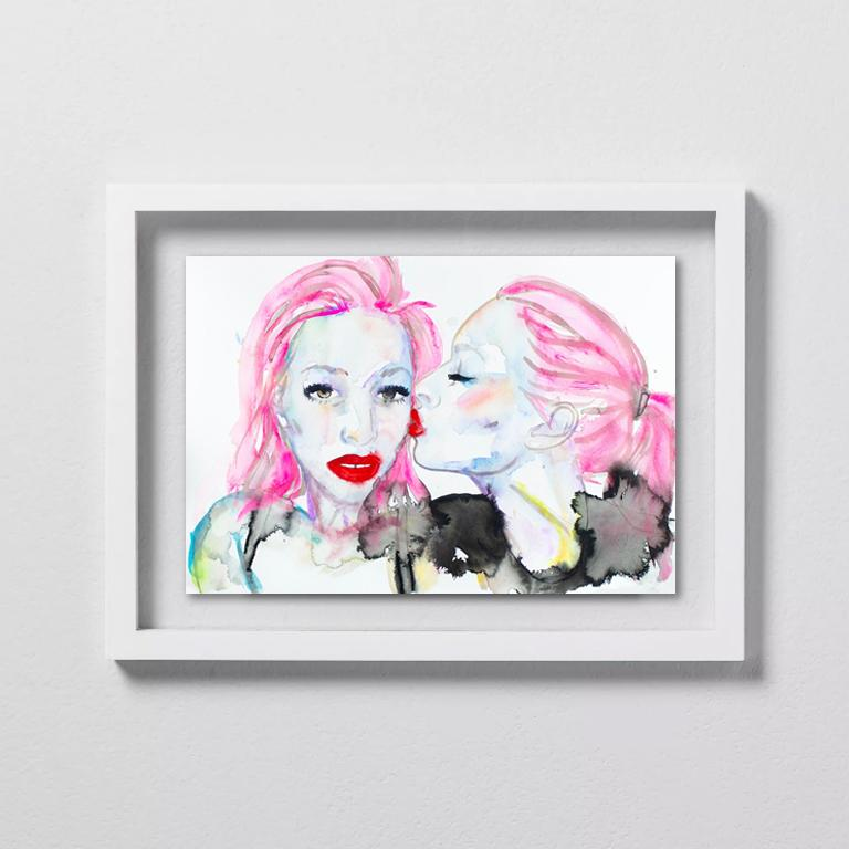 FAHREN FEINGOLD Portrait - My Life is Not an Audition,Watercolor, Paper, Figurative, Signed,Kissing, Framed