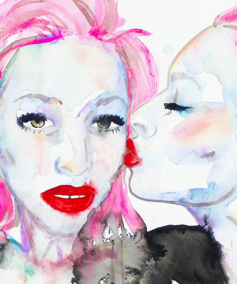 My Life is Not an Audition,Watercolor, Paper, Figurative, Signed,Kissing, Framed - Contemporary Art by FAHREN FEINGOLD