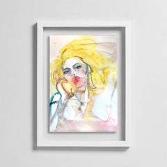 Hold The Line, Watercolor, Painting, Figurative, Portrait, Signed, Framed