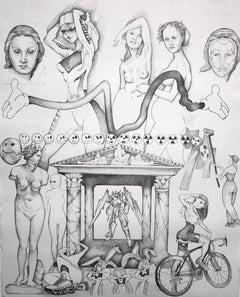 Summer, Drawing, Graphite on Paper, Figurative Art, Black White, Signed, Framed