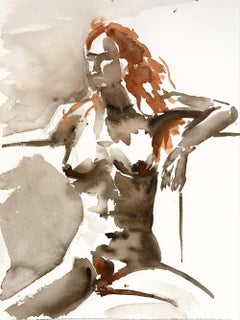 Anna No 2, Painting, Watercolor on Paper, Nude, Figurative, Signed, Framed