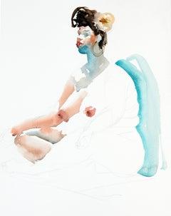 Diva Meditating, Body Positive, Watercolor, Nude, Figurative Art