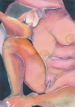 Self Love No 46, Watercolor, Nude, Figurative Art, Work on Paper, Signed, Framed