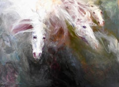 """""""III Horses Diving into Matter"""" Oil Painting in Deep, Vivid Earth Tones"""