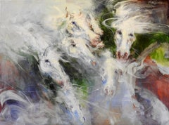 """""""V Horse Profiles shown in Various Directions"""" Oil Painting, Whites, Greens, Red"""