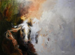 """Reflected Images of a Horses Profile"" Oil Paint, Light and Dark"