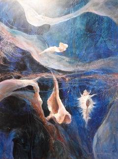 """Husk"" Aquatic, Seashell Contemporary Oil Painting"