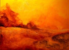 """Deserted Sun"" Contemporary Landscape Oil Painting on Canvas, Grunge Background"