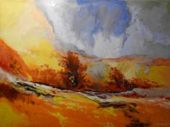 """Serene"" Marigold Brush Field, Expressionist Oil Painting"