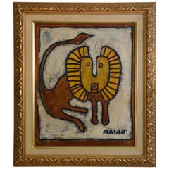 Robert L. Mulder Midcentury Painting of Lion
