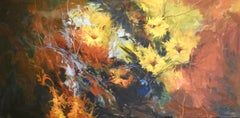 """Bleeding Flowers of Yellows, Reds, and Orange"" Oil Paint, Abstract Background"