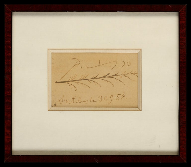 Antibes, Le 30.9.54 - Pablo Picasso, Original, French, Ink sketch, feather - Painting by Pablo Picasso